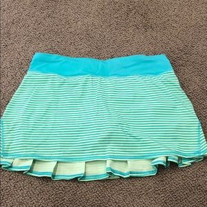 Lime Green Lulu Lemon Mini Skirt- Turquoise Waist